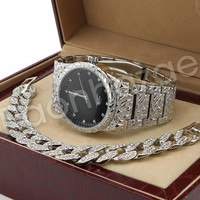 Hip Hop 14K White Gold PT Nugget Watch Cuban Chain Bracelet Set F45S