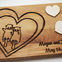 Otters holding hands Personalized Cutting board, Wedding Gift for the Couple, Wedding gift, Anniversary Gift cutting board, Personalize Gift