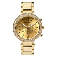Women's Journee Collection Bright Rhinestone Accented Round Face Colorful Metal Link Watch