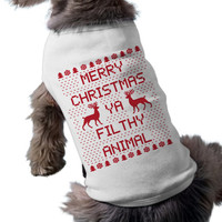 White Dog TShirt Merry Christmas Ya Filthy Animal Shirt