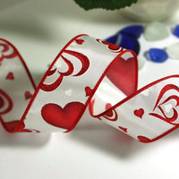 Valentine Ribbon: White Wire Edged Ribbon with Red Glitter Hearts and red edge - 3 yards - 1 1/2 inch wide