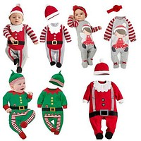 Christmas Baby rompers Costume kids newborn clothes long sleeve spring children infant clothing set top+hat