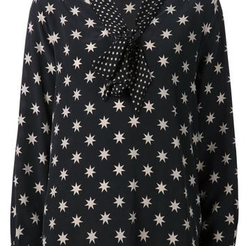 Equipment bow collar star print blouse