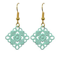 Vintage Filigree Diamond Shabby Chic Earrings-Choose Your Color