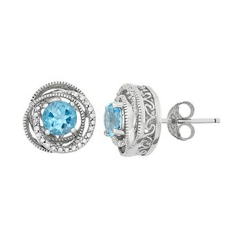 Simply Vera Vera Wang Blue Topaz & Diamond Accent Sterling Silver Twist Stud Earrings