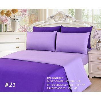 Tache 4-6 Piece Dark Purple/ Light Purple Reversible Duvet Cover Set (DC46PC-PP)