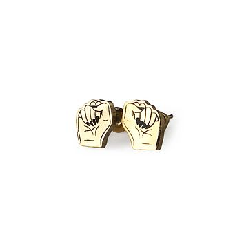 Girl Power Clenched Fists Earrings in Gold Plated