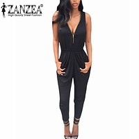 2016 ZANZEA Summer Rompers Womens Jumpsuit Bodysuit Casual Bodysuits Long Overalls Plus Size Sexy V Neck Sleeveless Playsuits