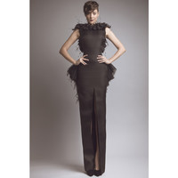 Black Evening Dresses Elegant Evening Gowns Sexy Backless Feather Appliques Long Women Party Dresses COC-0022