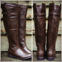 Keep Walking Distressed Brown Riding Boots