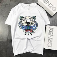 KENZO New fashion embroidery letter tiger leisure couple top t-shirt White