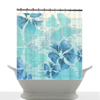 Beach House Shower Curtain - Hibiscus Flower Power, maps and travel decor , unique, teal, aqua,