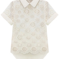 ROMWE | Lace Asymmetric Floral Emboidered White T-shirt, The Latest Street Fashion