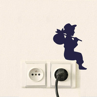 Outlet Switch Velvet Wall Decal - Boy Silhouette Wall Decor - Kid Wall Sticker - Old Fashioned Decor - Traveling Wall Decor