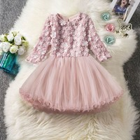Toddlers Kid Girls Lace Floral Princess Wedding Performance Formal Party Dress