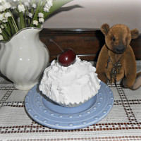Faux Cherry Cupcake White Frosting Fake Food Photo Staging Prop