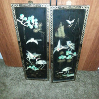 Stunning Vintage Set of Two Lacquer Oriental Asian Abalone - Mother of Pearl- Wall Art - Home Decor -