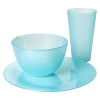 Room Essentials™ Ribbed 12 Piece Plastic Dinnerware Set