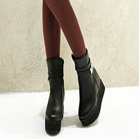 Women Ankle Boots Wedges Buckle Platform Shoes Woman 2016 3380