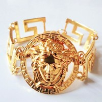 Versace New fashion human head couple bracelet Golden