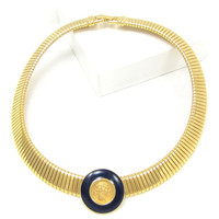 Vintage MONET Gold Omega Choker Necklace Roman Coin Collar Bib Pendant Navy Blue Enamel High End Designer Costume Jewelry, Gift for Her