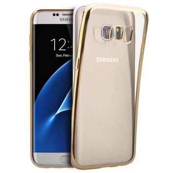 Luxury Style Plating Gilded TPU Soft Silicone Phone Case Cover For Samsung Galaxy A3 A5 A7 2016 S3  S4 S5 S6 S7 Edge