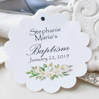Personalized Baptism Favor Hang Tags  Religious Tag White Peonies Floral Scalloped Circle Baptism Tags