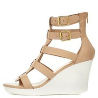 Nude Caged T-Strap Wedge Sandals by Charlotte Russe