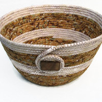 Coiled Fabric Bowl, Basket, Brown and Cream