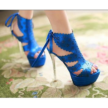 Gladiator Sandals Women Pumps Platform Stiletto High Heels Shoes Woman