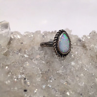 Teardrop Opal Ring; engagement ring; wedding ring; genuine opal ring; sterling silver ring; bohemian jewelry; fine jewelry; handmade ring