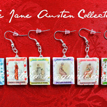 JANE AUSTEN Mini Book Earring PAIR from Durable Clay