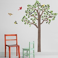 Large Woodland  7FT Tree Wall Decals, Bird Wall Decals Optional, Eco-Friendly Fabric Woodland Wall Decals