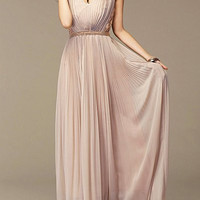 Nude Bohemian V-Neck Embroidered Chiffon Maxi Dress