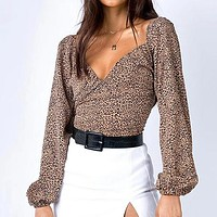 Female Leopard Shirt Fashion Women Crop Tops and Blouse Sexy V Neck Backless Blouse Ladies Long Sleeve Shirt