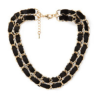 FOREVER 21 Woven Layered Chain Choker Black/Gold One