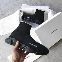 Balenciaga classic high-top printed letters platform sneakers casual shoes All Black