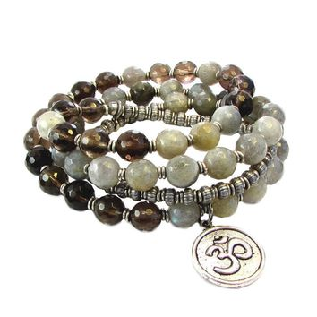 Serendipity and Positivity, Faceted Labradorite and Smoky Quartz 54 Bead Convertible Wrap Mala Bracelet Or Necklace
