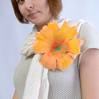 Huge felt flower brooch in yellow - sunny felted wool brooch, fiber art, fancy, floral, fashion jewelry [B54]