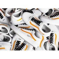 Coutie x Vans Old Skool HUMAN ERROR Trending Women Men Stylish Canvas Flat Sport Sneaker Shoe White Orange I-CSXY