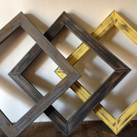 Yellow Gray and Black Frame Set Of 3 Open Gallery Nursery Home Decor 8x8