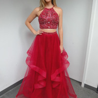 Two Piece Red Beading Prom Dresses,Prom Dress