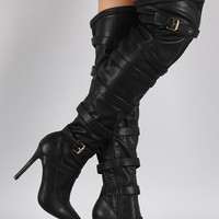 Pointy Toe Buckled Straps Stiletto Over-The-Knee Boots