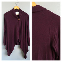 A Flow Button Cardi in Wine