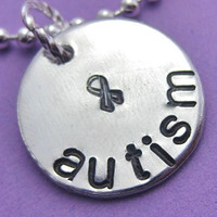 Autism Awareness Necklace, Hand stamped Necklace, Personalized Autism Necklace