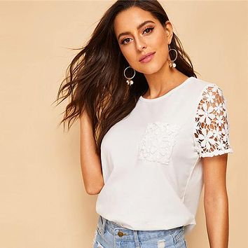 Lace Sleeve Pocket Detail Tee Swish Women Clothes Solid Tops Casual Short Sleeve Tshirt