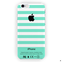 Apple Logo Green Mint Stripes For iPhone 6 / 6 Plus Case