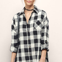 Black Plaid Long Sleeve Blouse