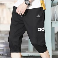 Adidas  New fashion letter print solid color camouflage shorts men Black