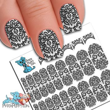 Lace Black Nail wraps